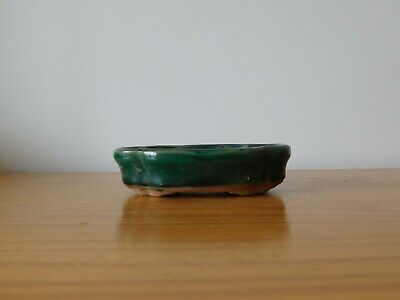c.19th - Antique Chinese Green Glaze Porcelain Small Planter