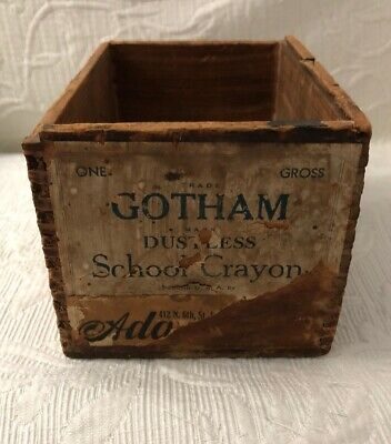 Vintage Antique Gotham Dustless SCHOOL  CRAYONS wooden BOX