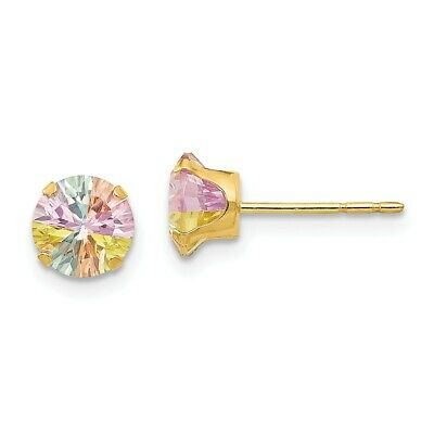 46f71712b JUNIOR JEWELS 14K Gold Multi-color Cubic Zirconia Flower Earrings ...
