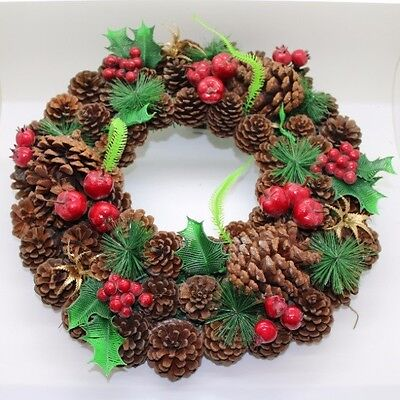 Natural Christmas Wreath - Pine Cone Decoration
