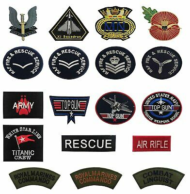 Top Gun Usa Army Royal Air Force Navy Rescue Services Ironsew On Patch Badge