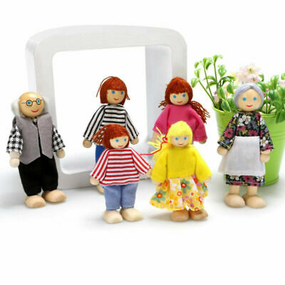UK Wooden Furniture Dolls House Family Miniature 6 People Doll Kids Children Toy