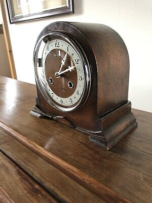 vintage art deco mantle clock. Bentima 8 Day Chiming . GWO C:-1940s + Key.