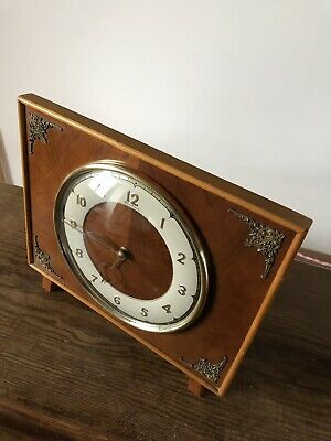 Vintage Mantle Clock. Bentima 8 Days 1950s  Classic Wooden Modernist GWO .