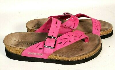 35c616ee16bd Mephisto Women s Helen Perf Pink Leather Thong Slides Sandals - Size EU 36  US 6
