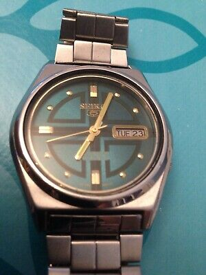 Seiko 5 Mechanical Men's Vintage Automatic Day & Date Authentic Wrist Watch