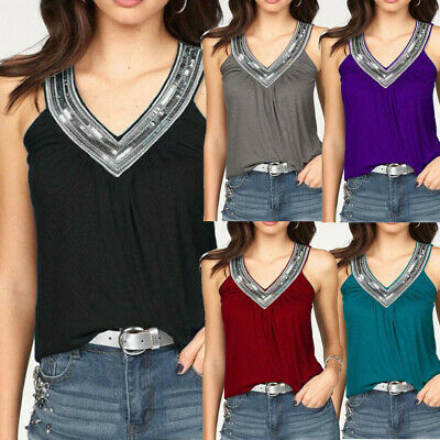 Fashion Womens Sequins V Neck Vest T-Shirt Summer Tank Tops Blouse Tees HY