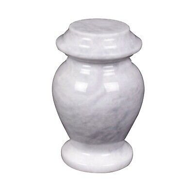 Mini Cremation Urn for ashes Funeral Memorial Small Keepsake White marble Token
