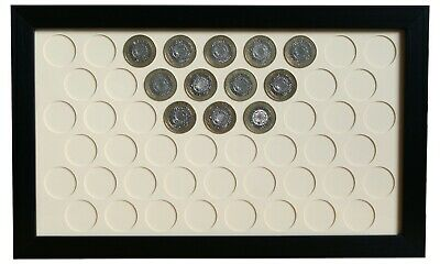 Display Frame for UK 2 Pound Coins - Black wall hanging case for 51 £2 pieces