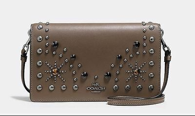 NWT $295 COACH Leather Western Rivets Foldover Crossbody Fatigue Brown 56529