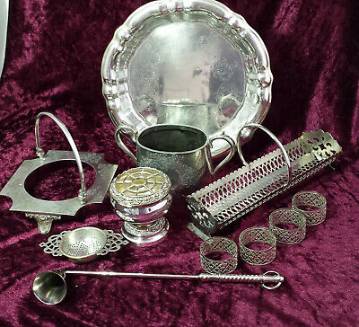 Job lot 11 pieces asst vintage & antique silver plated tableware / collectables