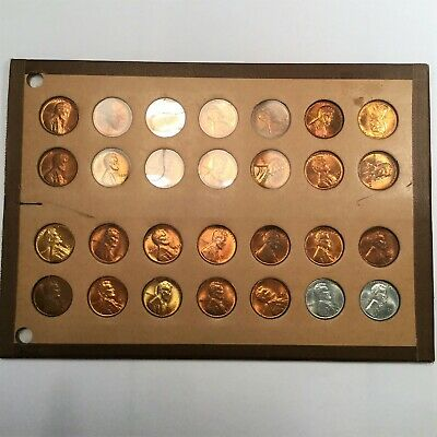 1934-1943 Uncirculated Lincoln Wheat Cent Penny Set Beautiful BU Coins
