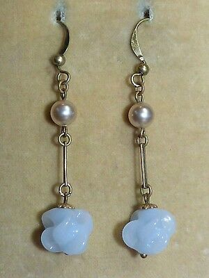 Vintage 1930s dove grey moulded glass bead Louis Rousselet French drop earrings