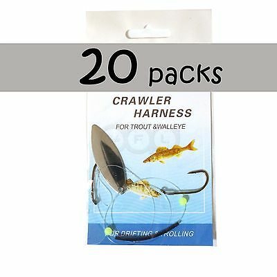 20pks Fishing Walleye Crawler Harness Walleye Spinner Rigs 2-hook Silver Chrome