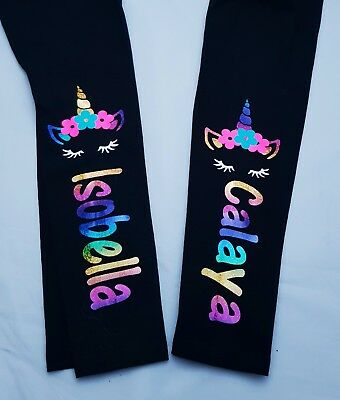 Girls Personalised unicorn Leggings ages 3 Months - 13yrs NEW Any name