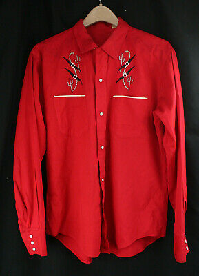 Vintage Red Wash N' Wear Collar Snap Down Shirt Large Rockabilly Western Cactus
