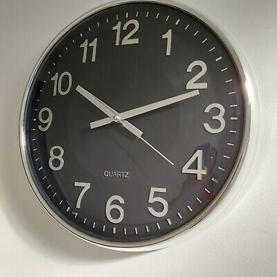 Contemporary Black Dome Face Wall Clock Classic Round living Room Kitchen Clock