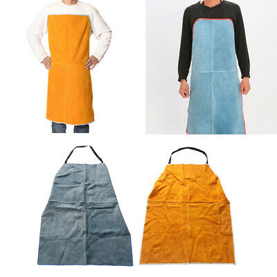 Work Apron for Men Women Adjustable for Welding BBQ Apron,Yellow&Blue=2PCS