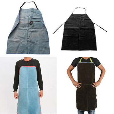 Work Apron for Men Women Adjustable for Welding BBQ Apron,Blue & Brown=2PCS