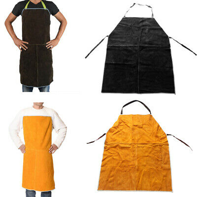 Work Apron for Men Women Adjustable for Welding BBQ Apron,Yellow&Brown=2PCS