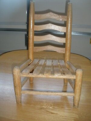 primitive antique farmhouse childs doll chair WITH SLATS RARE !!