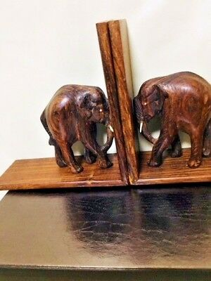 VINTAGE ELEPHANT BOOKENDS Hand Carved Rosewood Figural