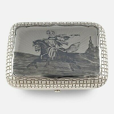 Antique Russian Solid Silver & Niello Cigarette Case Box Moscow 1879