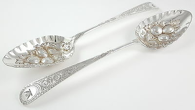 Cased Set Of Antique Georgian Solid Silver & Berry Spoons London 1801