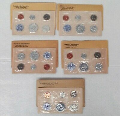 1964 U.S. Proof Set Lot of 4 Sets, and one 1957 Proof set, W/ envelopes. Silver