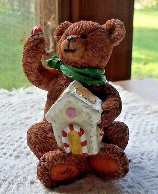 Brown Resin Bear Green Tie & Holding A Gingerbread House Figurine