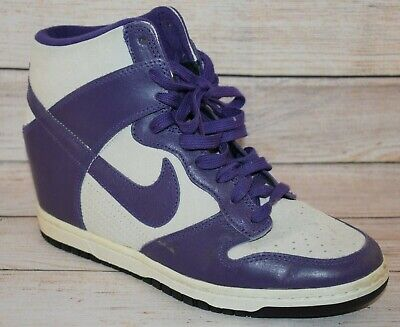 new style ad058 bcd3d Nike Women s Purple Dunk Sky Hi High Top Essential Hidden Wedge Sneaker 9.5