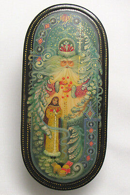 Vtg Morozko Father Frost Russian Hand Painted Lacquer Paper Mache Trinket Box
