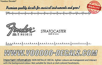 Fender Stratocaster USA (Grey Logo) headstock waterslide decal