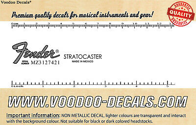 Fender Stratocaster Mexico (Grey Logo) headstock waterslide decal