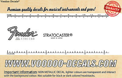 Fender Stratocaster Japan (Grey Logo) headstock waterslide decal