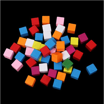 Color Small Wood Blocks Wooden Cubes Handmade Square Craft Pieces Kids Play WE