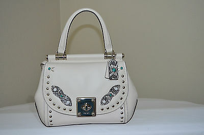 NWT $595 COACH Western Rivets Drifter Glovetanned Leather Chalk/Siver 86730
