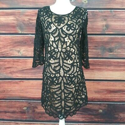 8f7a6c9ac THE KOOPLES Dress Black Lace On Nude 3/4 sleeve exposed zip Size 38 U.S