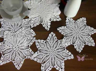 "1 Dozen/12pcs Pure White Cute Hand Crochet Cotton Doily cupmat 7"" Pineapple"