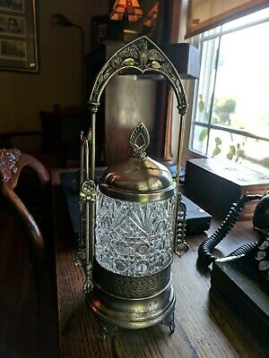 Antique Victorian Pickle Castor, Jar With Owl Motif, Silver Plate