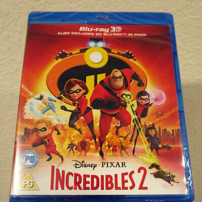 NEW Incredibles 2 3D 2D blu-ray disc region-free 2018 Disney Pixar the uk set