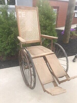 Antique Gendron Wheel Co. 1930's  Wood / Wicker Wheel Chair - Very Nice