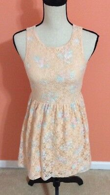 afe39aff624 Rue 21 Jr womens Peach blue Lace Floral Sleeveless Spring summer Dress Size