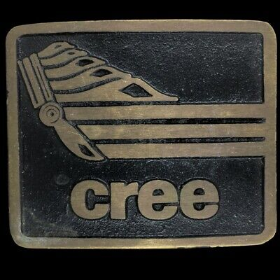 Cree Native American Chippewa Planes Indian 80s Solid Brass Vintage Belt Buckle