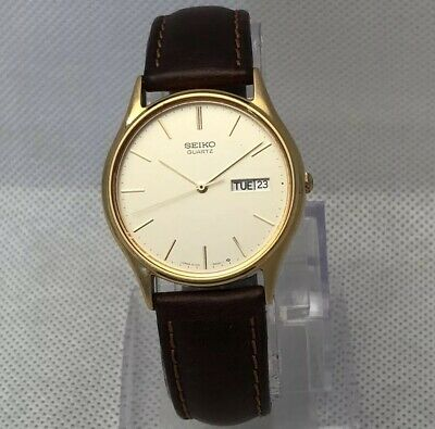 Seiko Gold Tone Brown Leather Date Day 33mm Watch 5Y23-8039 Engraved