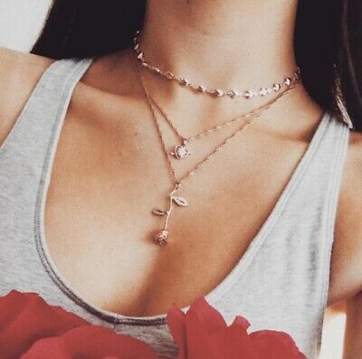 Women Elegant Rose Flower Pendant Charm Long Chain Necklace Lovers Couple Gifts