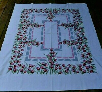 """Vintage 50's TABLECLOTH Cotton Floral Pink Gray RED TULIPS 70"""" X 56"""""""