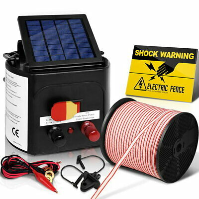 5KM Electric Fence Energiser Solar Powered Farm Charger with Insulator Polytape