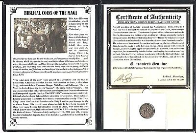 ANCIENT Biblical Coin of The Magi,Bronze Tetradrachm of Azes II,35 BC-5 AD,Album