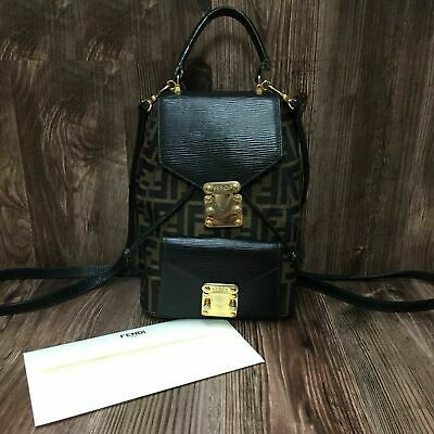 16d8b683e93f AUTHENTIC FENDI VINTAGE Zucca FF Monogram Backpack Bag Brown Black ...